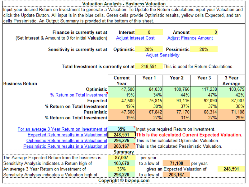 Business Valuation Screen shot
